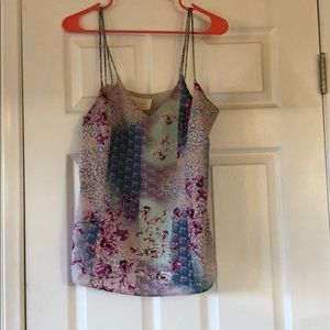 Sleeveless blouse- boho feminine pinks & blues 🌸